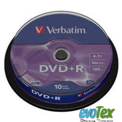 Диск DVD+R Verbatim 4.7Gb 16X CakeBox 10шт Silver (43498)
