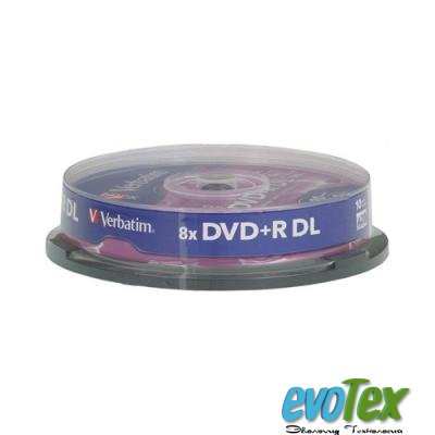 Диск DVD+R Verbatim 8.5Gb 8x CakeBox 10 шт Matte Silver (43666)