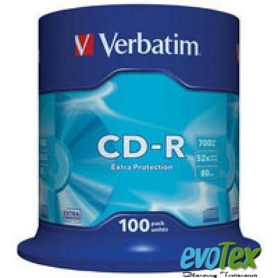 Диск CD-R Verbatim 700Mb 52x Cake box 100шт Extra (43411)